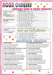 English Worksheet: Noun Clauses