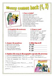 English Worksheet: MUZZY COMES BACK