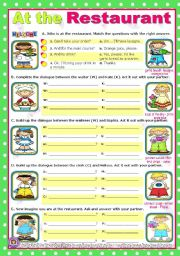 English Worksheets: At the restaurant  -  easy, short dialogues