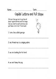 english worksheets capital letters and full stops. Black Bedroom Furniture Sets. Home Design Ideas