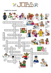 English Worksheets: JOBS - Crossword - 3 of 7