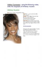 English Worksheets: WHITNEY HOUSTON