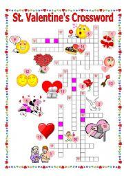English Worksheet: St.Valentine´s #5. Crossword