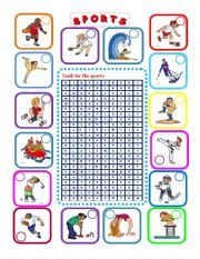English Worksheet: -16 Sports- WORDSEARCH