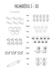 math worksheet : numbers 1 10 worksheets esl  k5 worksheets : Numbers 1 10 Worksheets Kindergarten