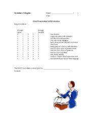 English Worksheets: Oral Self Evaluation Form