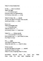 English Worksheets Linkin Park What I Ve Done Song Worksheet