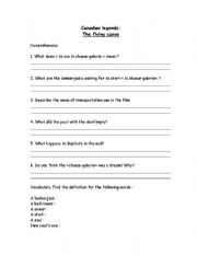 English Worksheets: The flying canoe worksheet