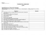 English Worksheet: Figurative Language Quiz