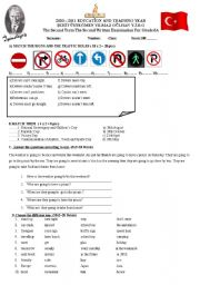 English Worksheet: Traffic Rules and Revision Test