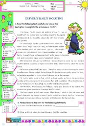 English Worksheet: Oliver�s  Daily  Routine  -  Reading Test