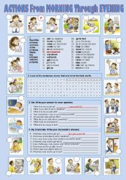 English Worksheets: Daily Routine: Actions from Morning through Evening