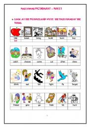 English Worksheets: PAST FORMS OF ACTION VERBS - PICTIONARY WORKSHEET - PART 1 of 3