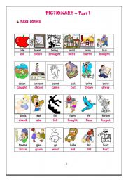 English Worksheets: PAST FORMS OF ACTION VERBS-PICTIONARY-HAND OUTS PART 1 of 3