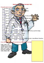 English Worksheets: Health and body parts test