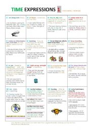 English Worksheet: TIME EXPRESSIONS  a very comprehensive activity page/ Intermediate to Advanced Level