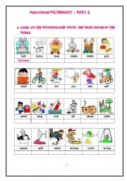 English Worksheets: PAST FORMS OF ACTION VERBS - PICTIONARY WORKSHEET- PART 2 of 3