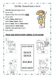 English Worksheets: OLD MC DONALD