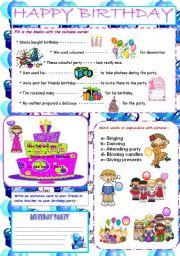 English Worksheet: *** ��� HAPPY  * BIRTHDAY ��� ***