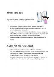 English worksheets: Show and Tell