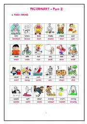 English Worksheets: PAST FORMS OF ACTION VERBS-PICTIONARY-HAND OUTS PART 2 of 3