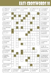 English Worksheets: Easy Crosswords 10