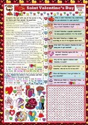 English Worksheet: SAINT VALENTINE-READING AND COMPREHENSION+WORDSEARCH