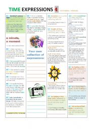 English Worksheet: Time EXPRESSIONS PART4