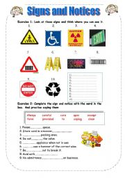 English Worksheets: Signs and notices