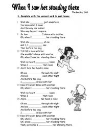 English Worksheets: Then I saw her standing there (Beatles) 2 pages
