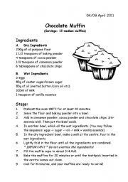 English Worksheet: Recipe - Chocolate Muffin