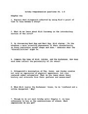 English Worksheets: Great Gatsby comprehension questions