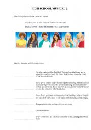 English Worksheet: High School Musical 3 - movie and song