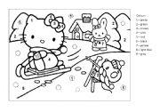 English Worksheet: Colouring Hello Kitty