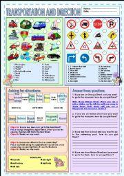 English Worksheet: Transportation & Direction