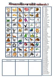 English Worksheets: 60 ordinary and wild animals