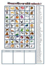 English Worksheet: 60 ordinary and wild animals