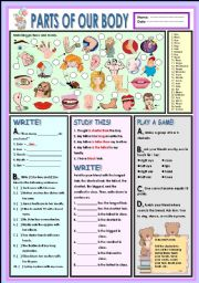 English Worksheet: Parts of our body