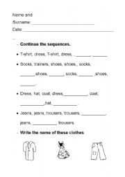 English worksheet: clothes sequences