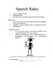 English Worksheets: Speech Rules