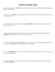 English Worksheet: Practice Context Clues
