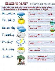 English Worksheet: Simon�s Diary. Weather observing diary.
