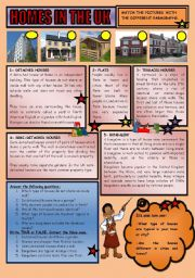 English Worksheets: homes in the UK
