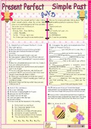 English Worksheet: Present perfect and Simple Past.