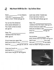 English Worksheet: Song - My Heart with go on - Celine Dion - with MAD LIBS