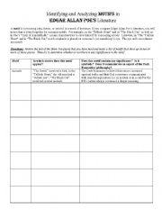 English Worksheets: Poe motif chart