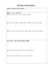 English Worksheets: bookreview