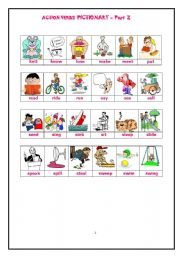 English Worksheets: ACTION VERBS PICTIONARY - Page 2 of 3