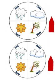English Worksheets: Weather Wheel for Young Learners