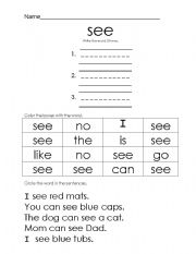 English Worksheets: see word